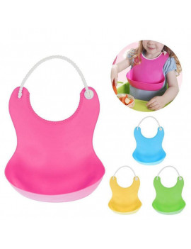 1pc Cute Baby Silicone Waterproof Saliva Dripping Bib Washable Roll Up Feeding Eating Crumb Catcher