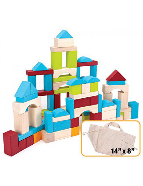 Imagination Generation 100-piece Natural Wood Building Blocks Set with Canvas Carry Bag
