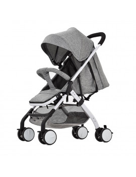 Airplane Baby Stroller One Step Fold Lightweight Convertible Baby Carriage with 5-Point Safety Harness Multi-Positon Reclining Seat Extended Canopy for Infant Toddler Grey