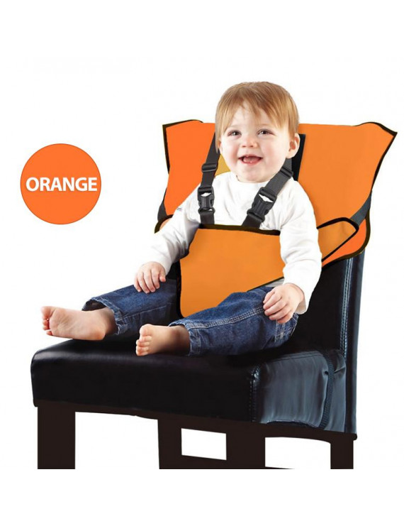 Amerteer Portable Easy Seat Travel High Chair Baby Feeding Booster Safety Seat Harness Seat Travel high chairs for Babies and Toddlers Holds Toddler Safety Harness-Orange