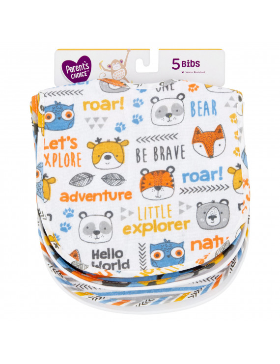 Parent's Choice All Over Print Feeder Bibs for Boy, 5 Pack