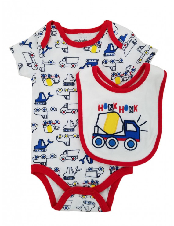 Infant Boys Honk Honk Construction Vehicles Bodysuit & Bib Set 0-3m