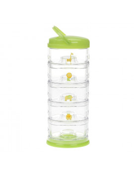 Innobaby Packin' Smart Stackable and Portable Storage System for Formula, Baby Snacks and more. 5 Stackable Cups in Lime Sorbet. BPA Free. (VARIOUS COLORS)