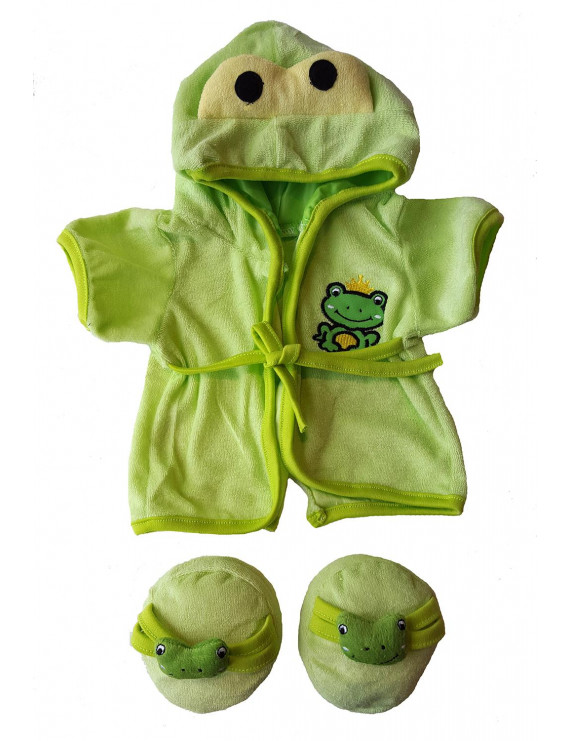 """Frog Robe & Slippers Pajamas Outfit Teddy Bear Clothes Fit 14"""" - 18"""" Build-a-bear and Make Your Own Stuffed Animals"""