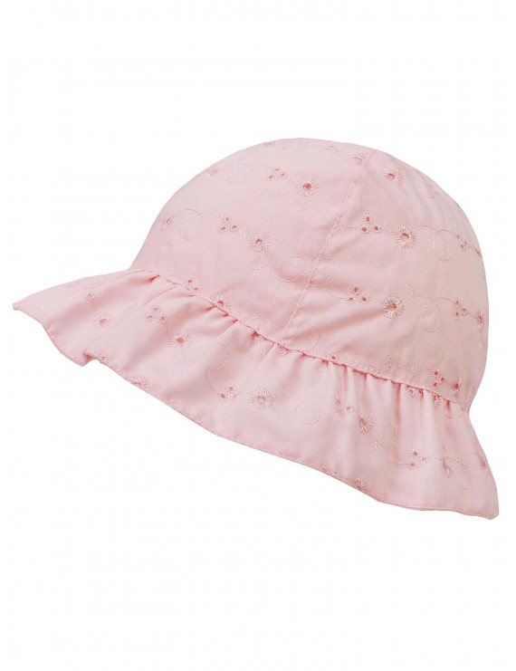 Baby Infant Lovely Floral Embroidered Floppy Wide Brim Sun Hats ,Pink,0-12 Months