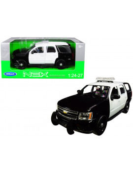 2008 Chevrolet Tahoe Unmarked Police Car Black and White 1/24-1/27 Diecast Model Car by Welly