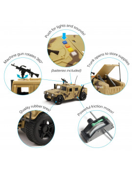 Vokodo Military Humvee Truck Friction Powered With Lights And Sounds Kids Push And Go 1:16 Scale Pretend Play Armored Army Vehicle Doors Open Quality Action Toy Car Great Gift For Children Boys Girls