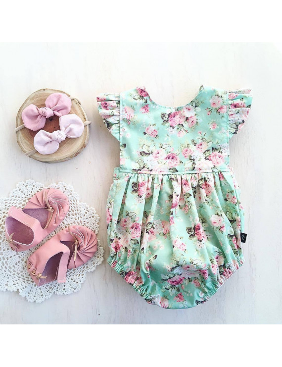 One Piece Baby Girls Floral Romper Summer ruffled Jumpsuit Playsuit Infant 0-18M
