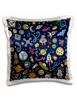3dRose Cartoon Space Explorer Birthday Kids Theme Spaceship Astronaut - Pillow Case, 16 by 16-inch