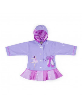 Kidorable Little Girls Lilac Pink Ballerina Hooded Rain Coat 2T-6X