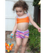 Azul Baby Girls Orange Purple Lilac And Stitch 2 Pc Shorts Swim Set