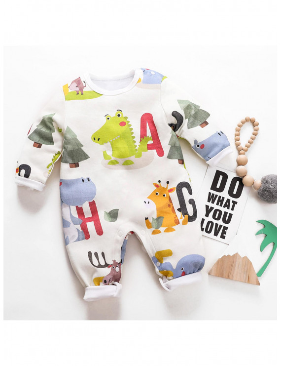 Cutie Animal Design Long-sleeve Jumpsuit for Baby Boy / Girl