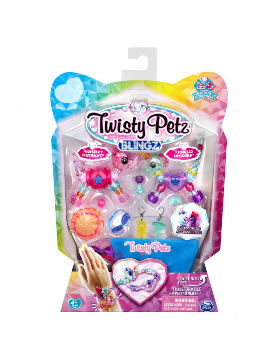 Twisty Petz, Series 4 Blingz, Starzie Elephant and Jinglez Unicorn Customizable Bracelet Set