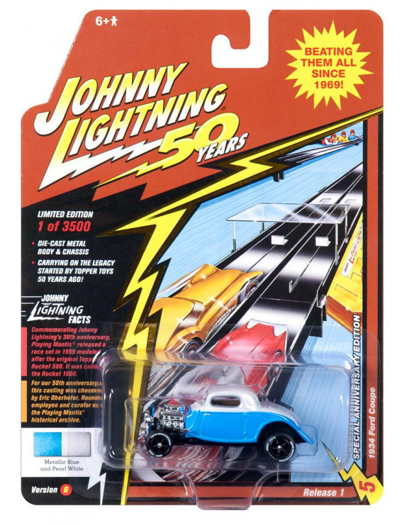 Johnny Lightning JLCG018 Classic Gold VER B 1934 Ford Coupe Blue n Pearl
