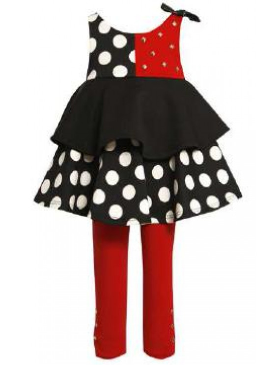 Little Girls: Newborn Red Black White Dot Tiered Pant Set with Studs 3-6 months