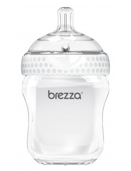 Baby Brezza Natural Baby Bottle -Easiest to Clean - White, 9oz, 1 Pack