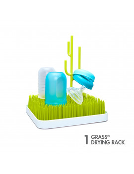 Boon Grass Countertop Drying Rack, Low-Profile Easy To Clean Baby Bottle Drying Rack, Green
