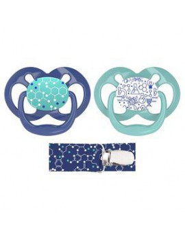Dr. Brown's Advantage 2-Pack Stage 2 Pacifiers with Clip, Blue
