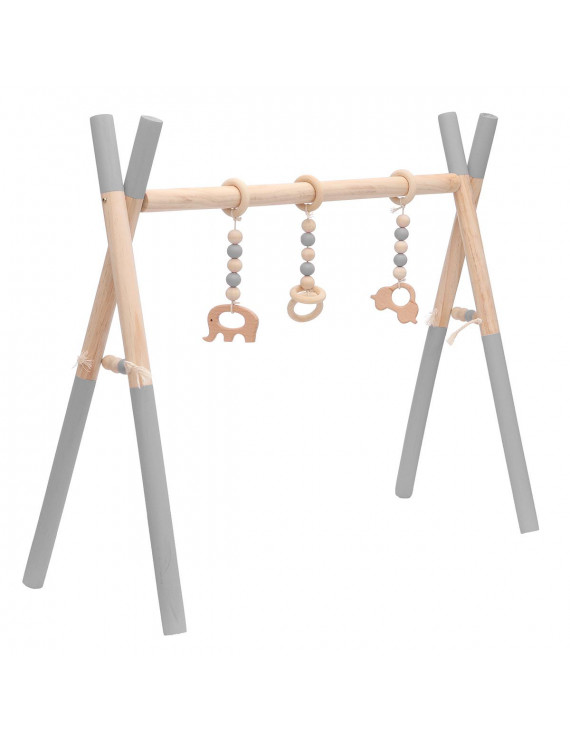 Wooden Baby Gym with 3 Baby Teething Toys Foldable Play Gym Frame Activity Gym Hanging Bar Baby Toy