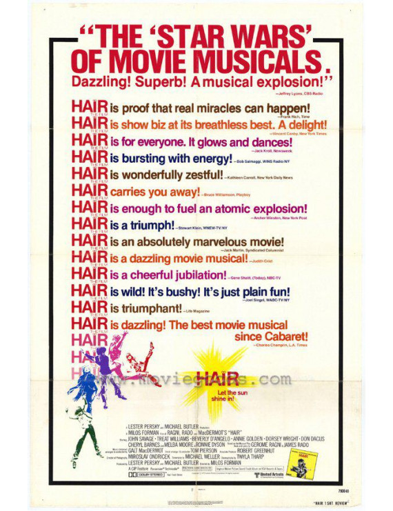 """Hair - movie POSTER (Style C) (11"""" x 17"""") (1979)"""