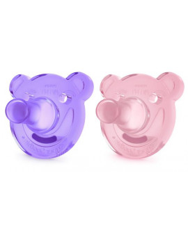 Philips Avent Soothie Pacifier, 3+ months, Various Colors, Bear Shape, 2 pack, SCF194/03 (Colors may vary)
