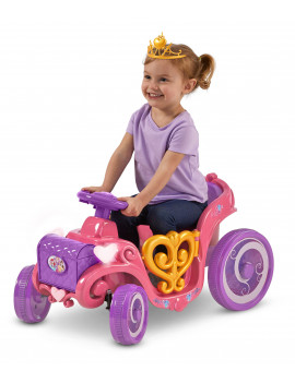 Disney Princess Enchanted Adventure Carriage Quad, 6-Volt Ride-On Toy by Kid Trax, ages 18-30 months, pink