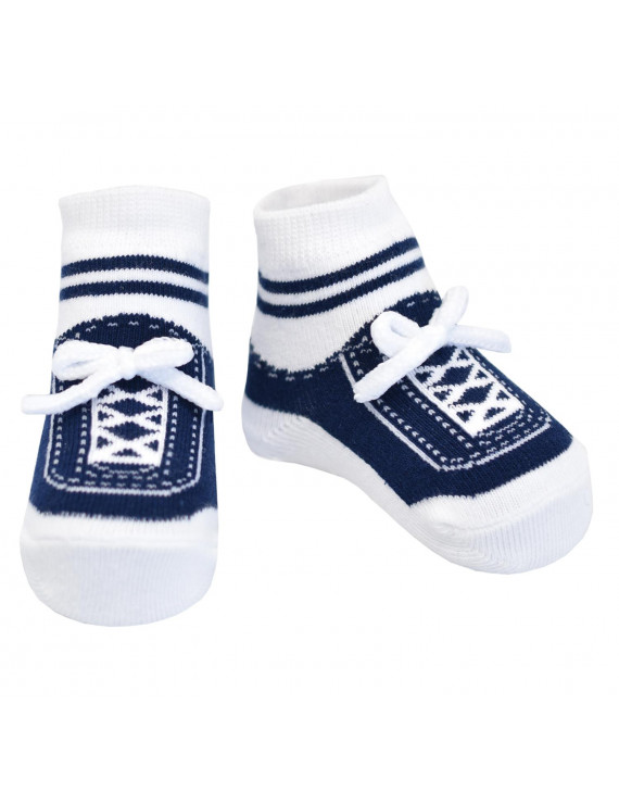 Baby Emporio-Baby boy or girl socks that look like sneakers-1 pr-cotton-shoelaces-0-12 Months - STEPPING OUT NAVY
