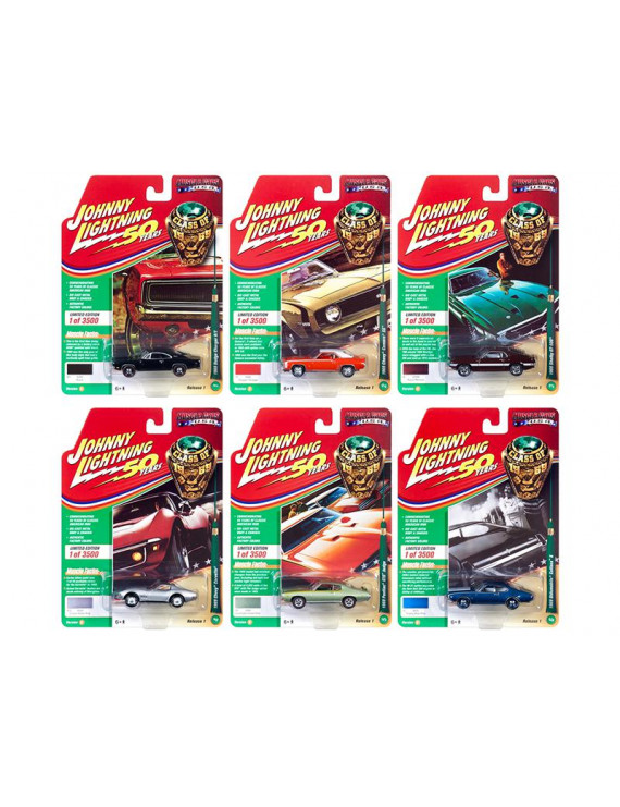 """Muscle Cars USA 2019 Release 1, Set B of 6 Cars """"Class of 1969"""" 1/64 Diecast Models by Johnny Lightning"""