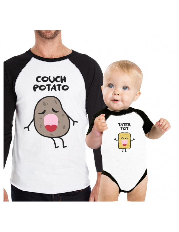 Couch Potato Tater Tot Cute Graphic Matching Tees For Dad And Baby