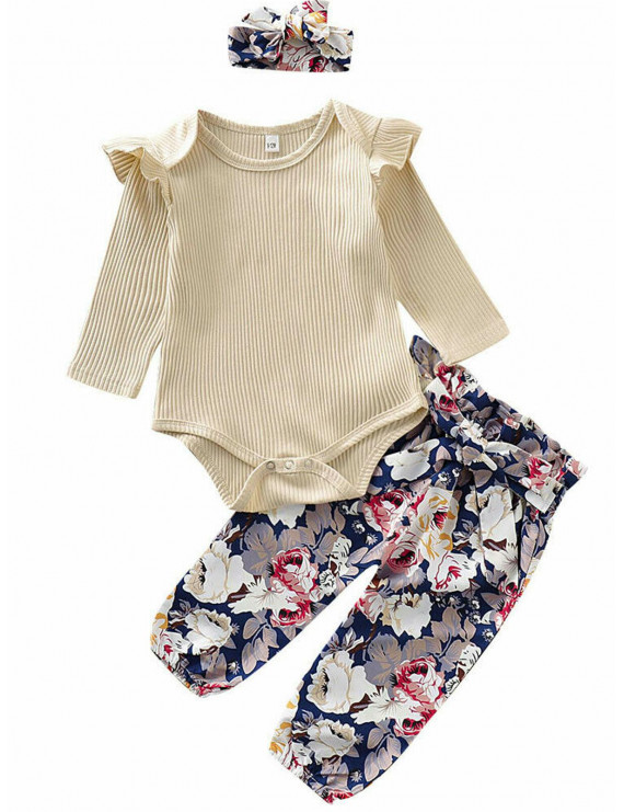 Lookwoild's Newborn Baby Girls Cotton Long Sleeve Romper Printing Pants Outfit Clothes