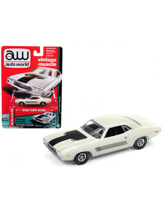 """1972 Dodge Challenger Rallye Dover White \Auto World's Premium\"""" Limited Edition to 1800 pieces Worldwide 1/64 Diecast Model Car by Autoworld"""""""""""""""