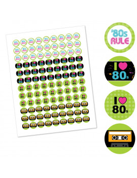 80's Retro - Totally 1980s Party Round Candy Sticker Favors - Labels Fit Hershey's Kisses (1 sheet of 108)