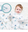 insular Muslin Swaddle Blanket Bamboo Fiber & Cotton Baby Blankets Soft & Breathable Portable Nursery Blankets for Infants Toddlers Kids Home or Travel (51.2 * 43.3in)