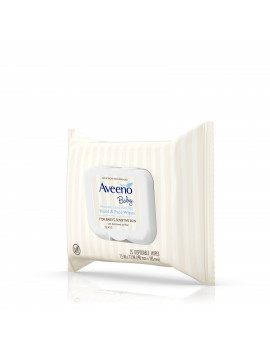Aveeno Baby Hand & Face Wipes with Oat Extract, Fragrance-Free, 4 Packs of 25 Count