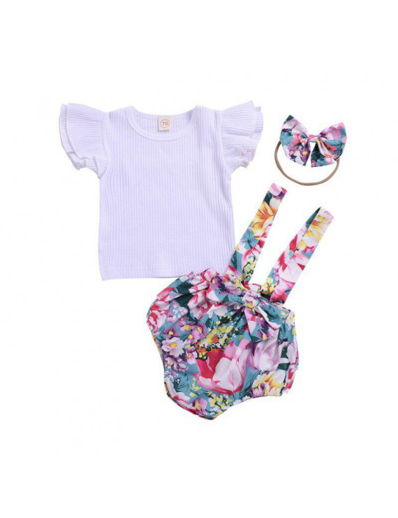 Newborn Baby Clothing Romper Jumpsuits For Girls Summer T-shirt+Print Shorts Pants overalls For kids Clothes Set