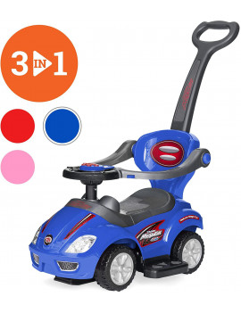 3-in-1 Kids Push and Pedal Toddler Ride On Wagon Play Toy Stroller w/ Sounds, Handle, Horn - Blue