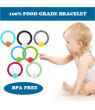 HOT Cute 100% Food Grade Silicone Bracelet Bangles with Round Bell Chewable Beads BPA Free Teethers Nursing Soothing Jewelry Toy for Baby Boys Girls Toddler Gift Mom