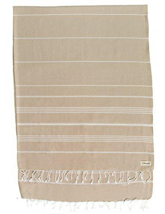 Bersuse 100% Cotton - Anatolia XL Blanket Turkish Towel - Bath Beach Fouta Peshtemal - Multipurpose Bed or Couch Throw, Table Cover or Picnic Mat - Striped - 61X82 Inches, Beige