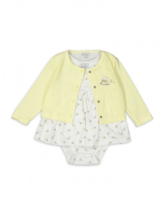 Quiltex Baby Girl Dress & Cardigan