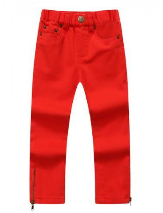 Richie House Baby Girls Red Crimson Denim Pants 24M