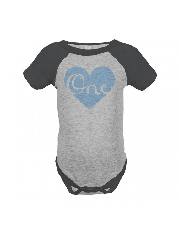 Custom Party Shop Boy's First Birthday Vintage Baseball Tee Onepiece - Grey and Black / 12 Months