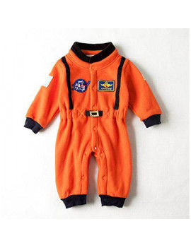 Bilo Baby Toddler Boy Orange Astronaut Fleece Costume Jumpsuit (18-24 months/90)