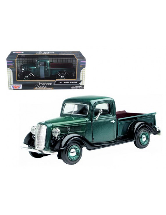 1937 Ford Pickup Truck Green 1/24 Diecast Model Car by Motormax