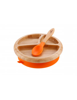Avanchy Bamboo Stay Put Suction Baby Plate + Spoon Orange
