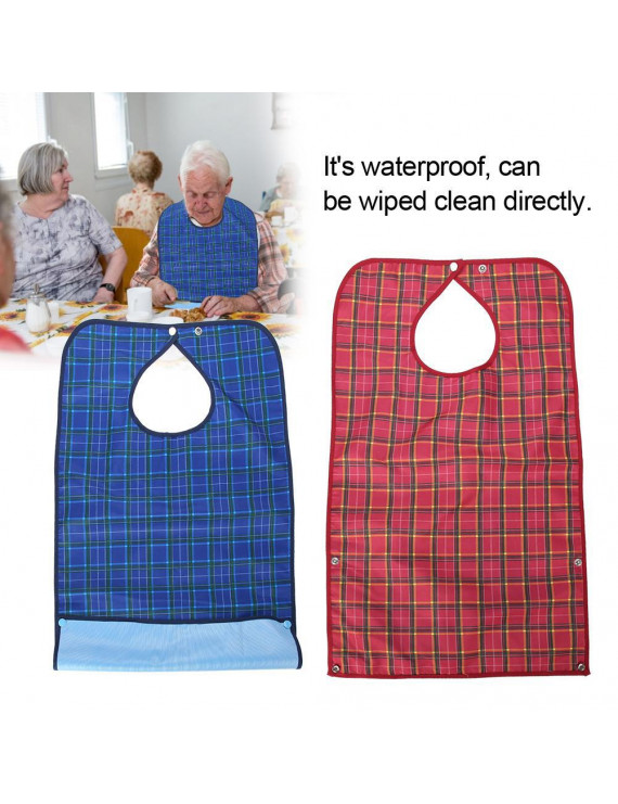 Ejoyous Adult Waterproof Mealtime Bib Double Layer Elder Dinning Clothes Protector Blue, Elder Bib, Clothing Protector Bib