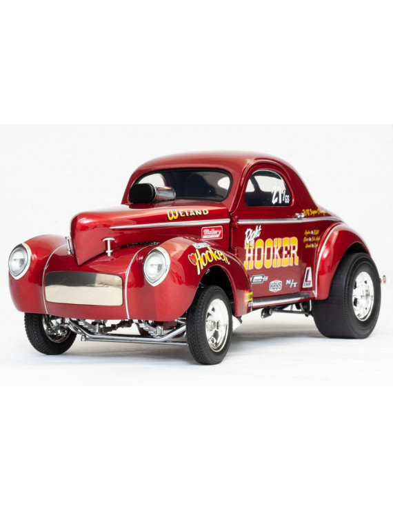 "1941 Gasser ""Hooker Headers"" Metallic Red 1/18 Diecast Model Car by Acme"
