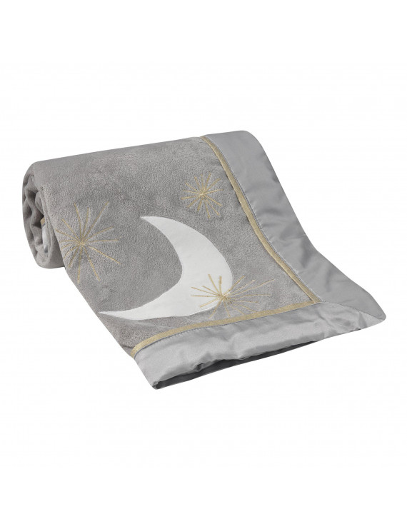 Lambs & Ivy Signature Goodnight Giraffe Moonbeams Blanket - Gray, Gold