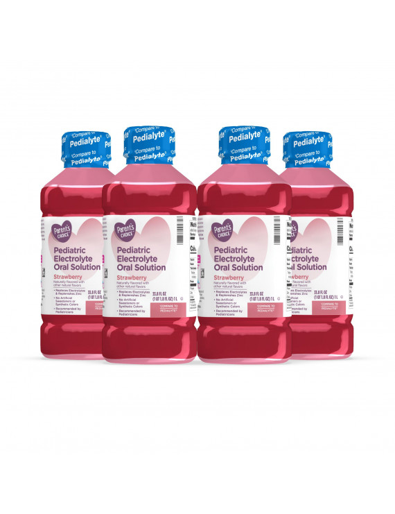 4 Pack Parent's Choice Pediatric Electrolyte Solution, Strawberry, 1 Liter
