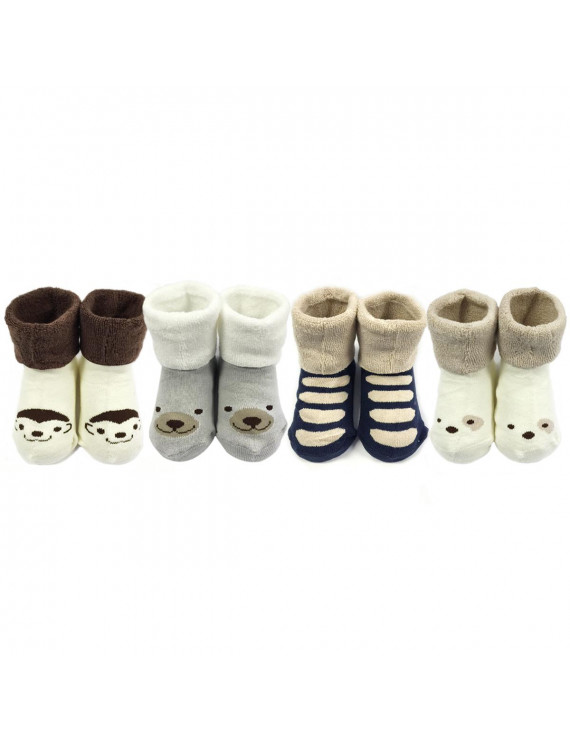 Wrapables® Thick Animal Face Socks for Baby Boy (Set of 4)