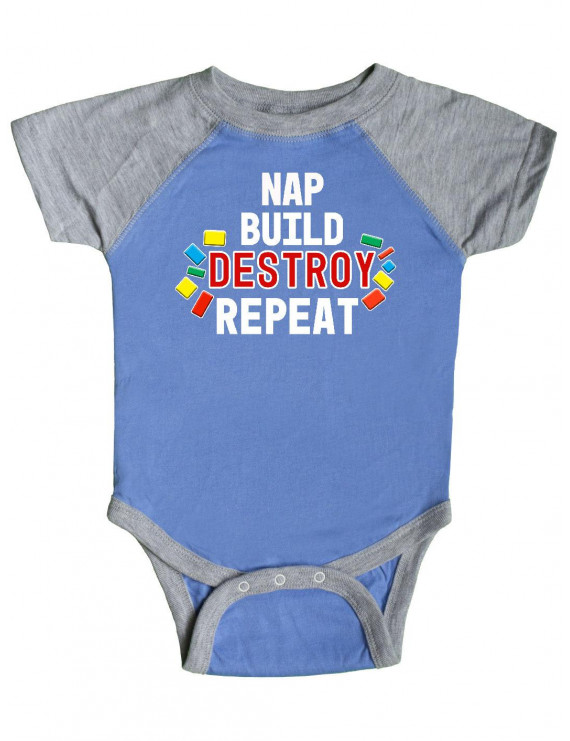 Nap Build Destroy Repeat with Colorful Building Blocks Infant Creeper